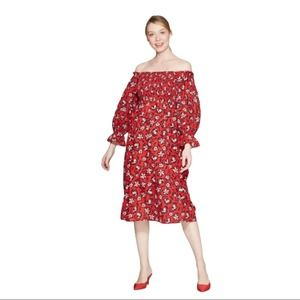 WHO WHAT WEAR Floral Midi Dress Red NWT S
